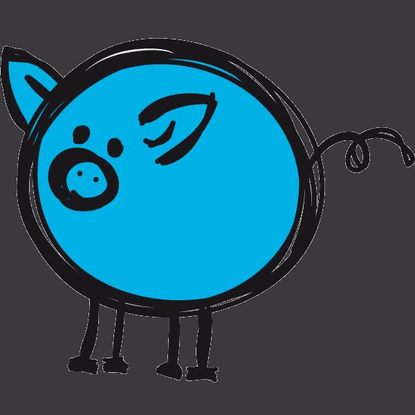 petit cochon bleu - cochon des prés